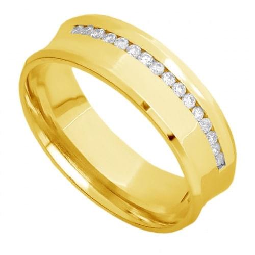 Par de Alianças de Casamento Ouro 18K Concavas Lisa e com Diamantes eac60a