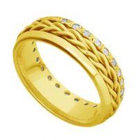 Par de Alianças de Casamento Ouro 18K Trançada com e sem Diamantes