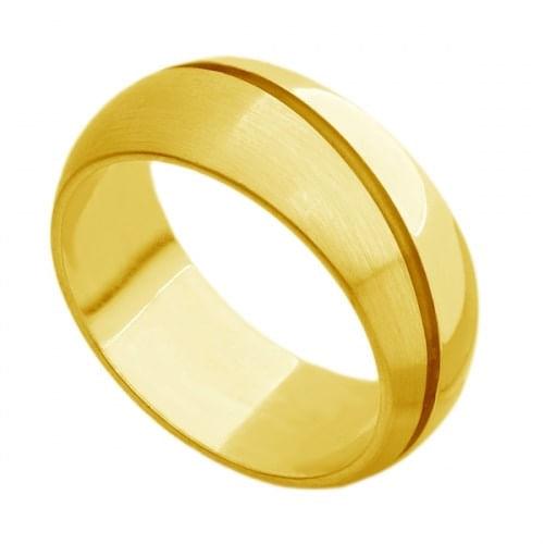 Par de Aliança de Casamento em Ouro 18k Grossa com Frisos ar074
