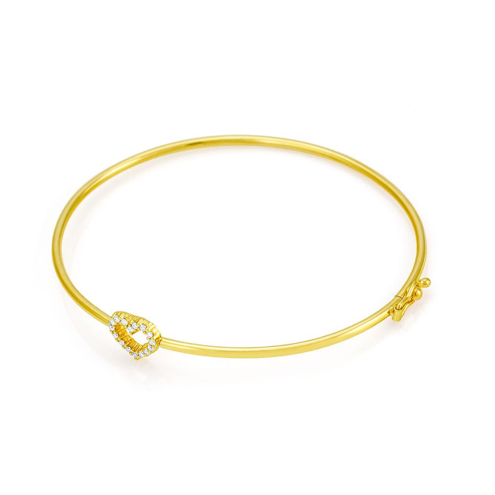 Pulseira em Ouro 18k Algema Coração com Diamantes pu00743