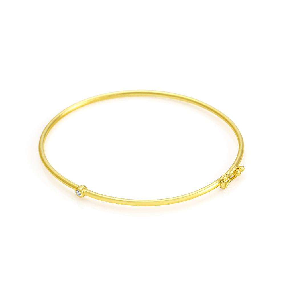 Pulseira em Ouro 18k Algema com Diamante pu01971