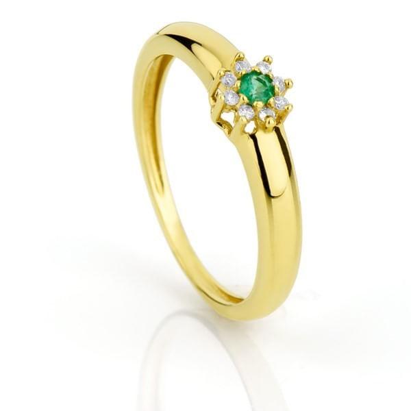 Anel de Formatura em ouro 18k com Zircônia Verde e Branca an31969 KT