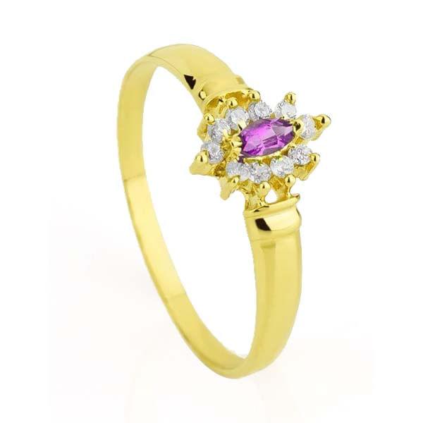 Anel de Formatura em Ouro 18k Ametista com Diamantes an30156