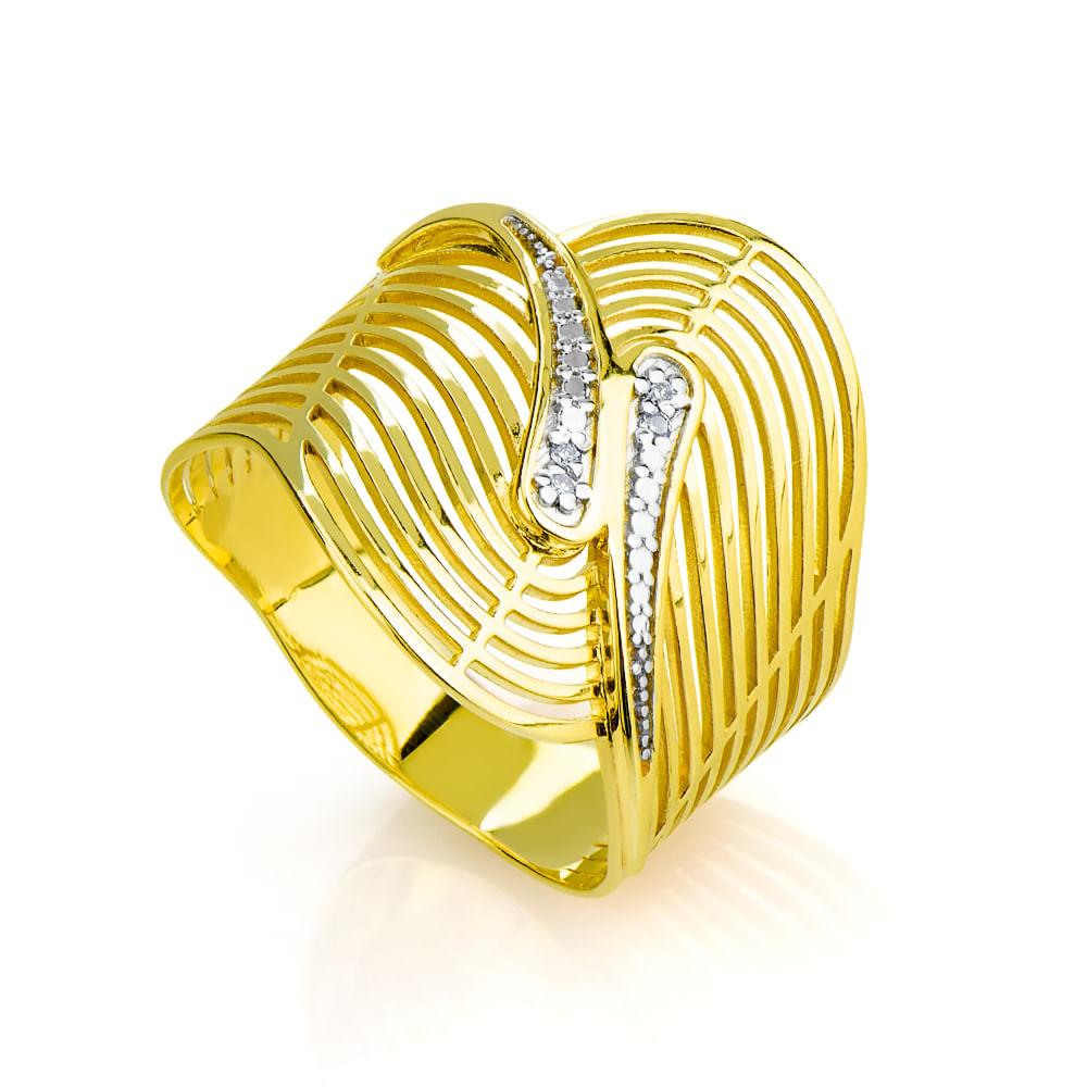 Anel em ouro 18k Fios Ondulados com 4 Diamantes an32083 KT