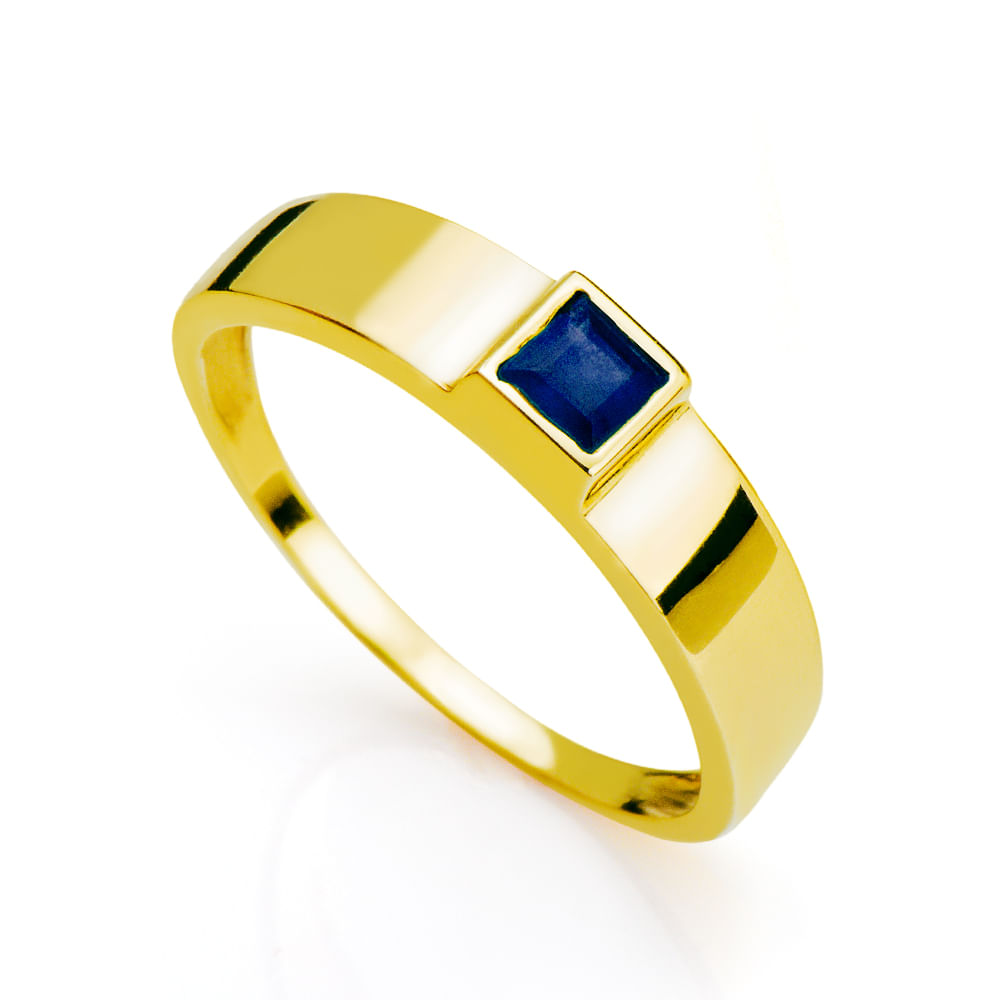 Anel de Formatura em Ouro 18K Masculino com Safira an32724