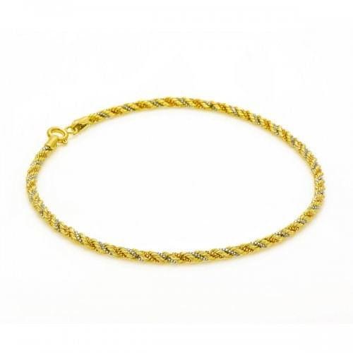 Pulseira em Ouro 18k Cordão Tricolor de 2,6mm com 20cm pu03882