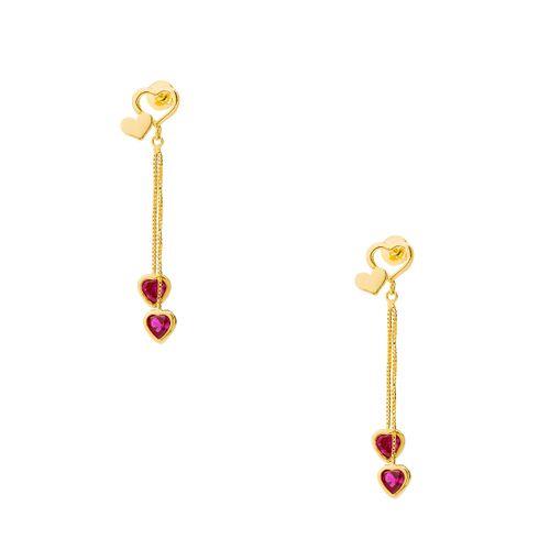 Brinco em Ouro 18k Corações com Zircônia Pendurados br21841 - Joiasgold