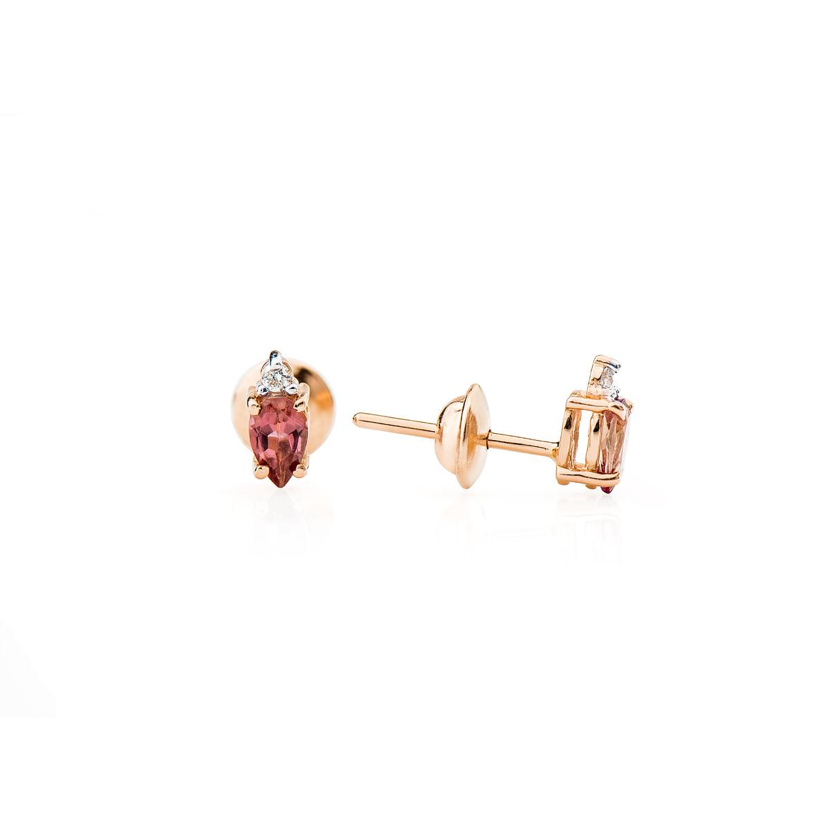 Brinco Ouro Rosê 18k Turmalina Rosa com Diamantes br21950 Brinco em Ouro Rosê 18k Turmalina Rosa com Diamantes br21950
