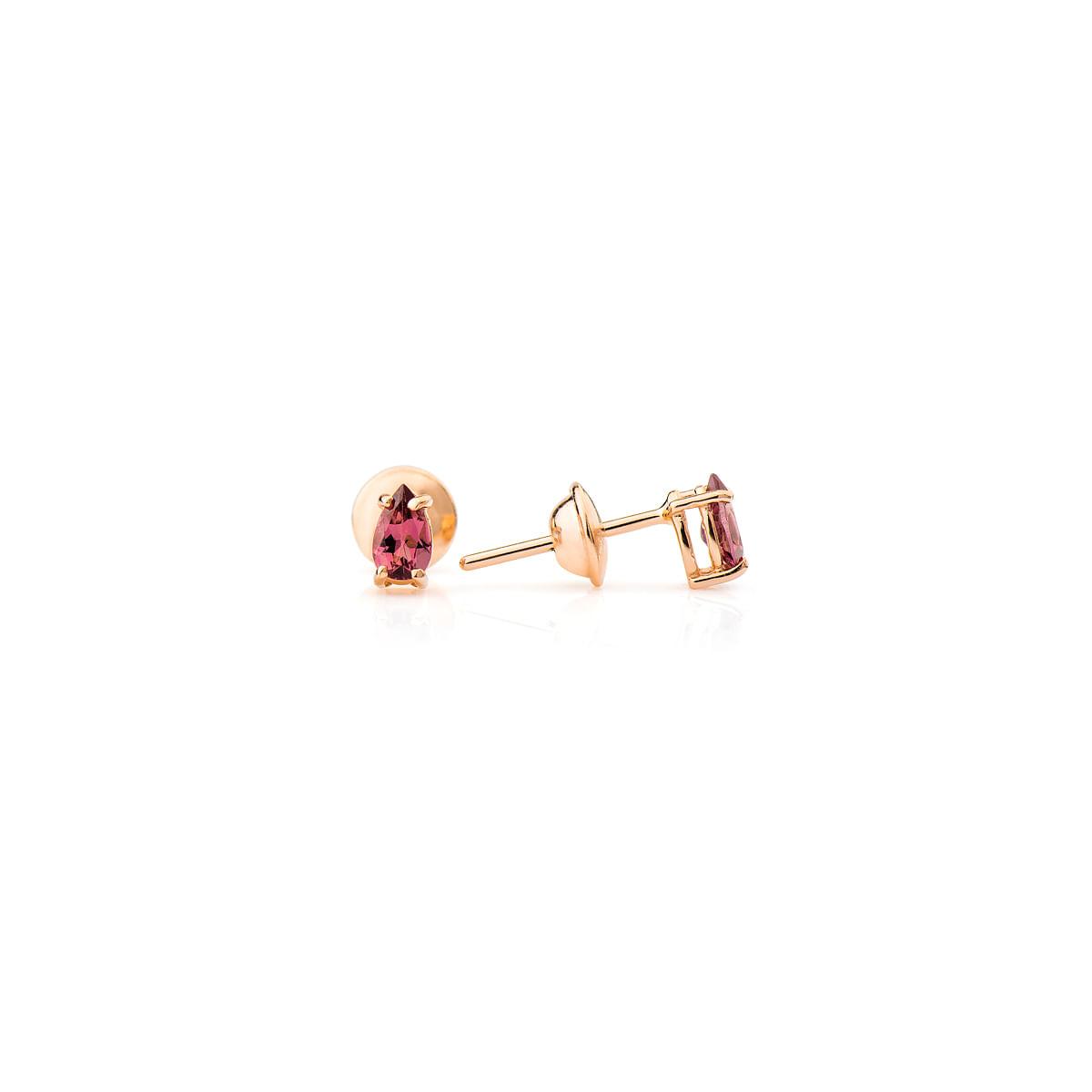Brinco Ouro Rosê 18k Turmalina Rosa br21717