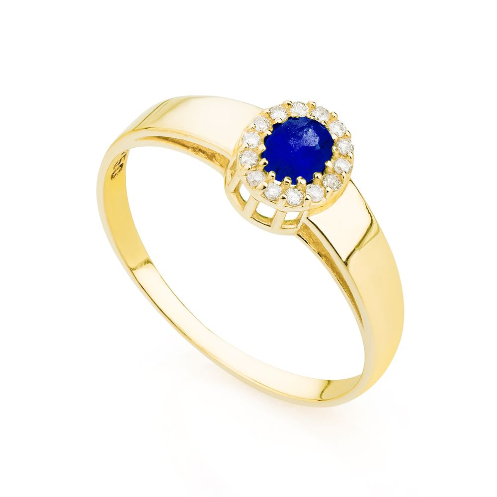 Anel de Formatura em Ouro 18k Feminino Safira e Diamantes an33804 Anel de Formatura em Ouro 18k Masculino Safira e Diamantes an33804