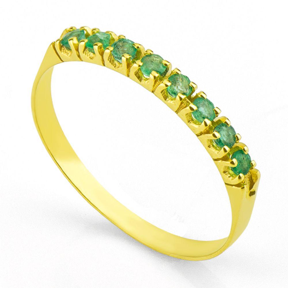 c62943ff41444 Anel em Ouro 18k Meia Aliança com 8 Esmeralda de 3 pontos - joiasgold