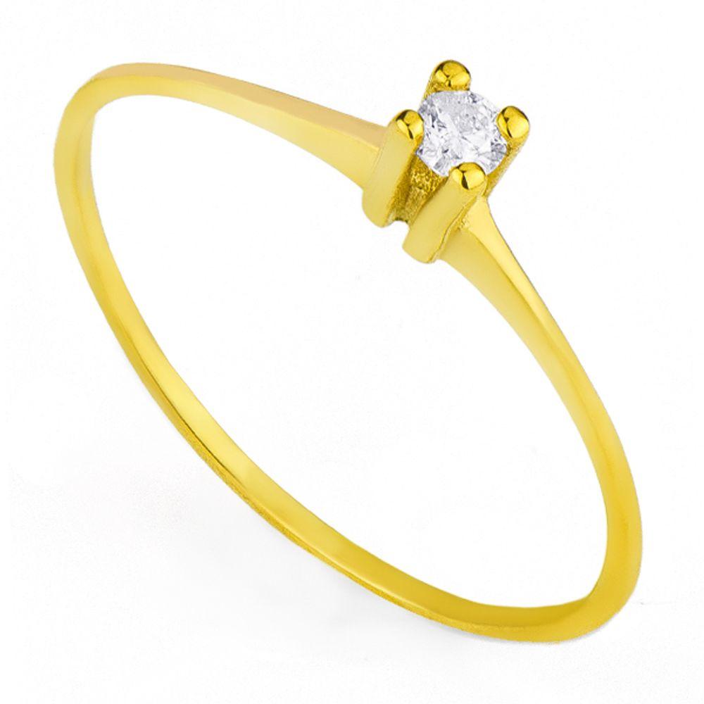 Anel em Ouro 18k Um Diamante Solitário de 5 Pontos - joiasgold 6feecdecae