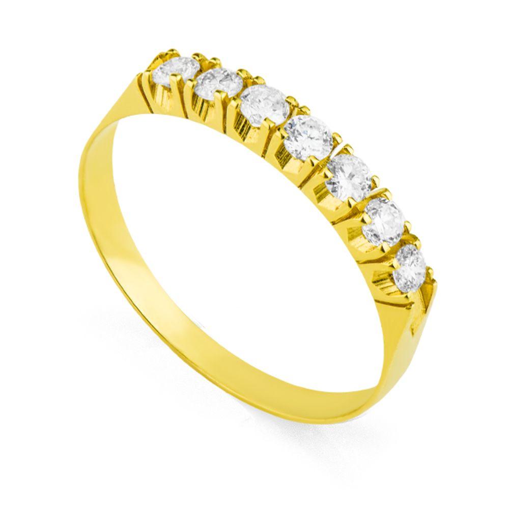 Anel em Ouro 18k Meia Aliança com 7 Diamantes de 5 pontos - joiasgold 1048c7fd8c