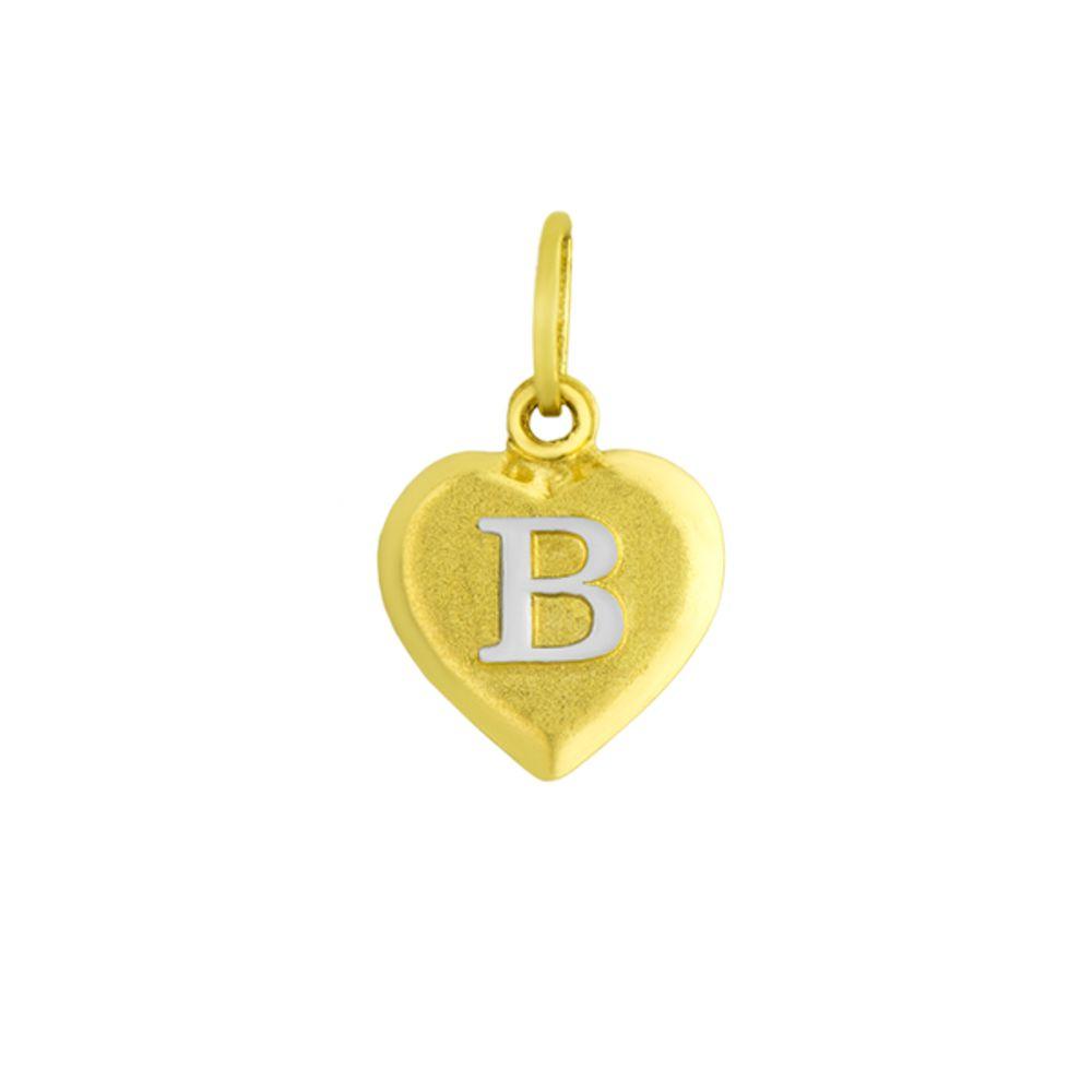 Pingente em Ouro 18k Letra B formato Coração - joiasgold a1b8633491