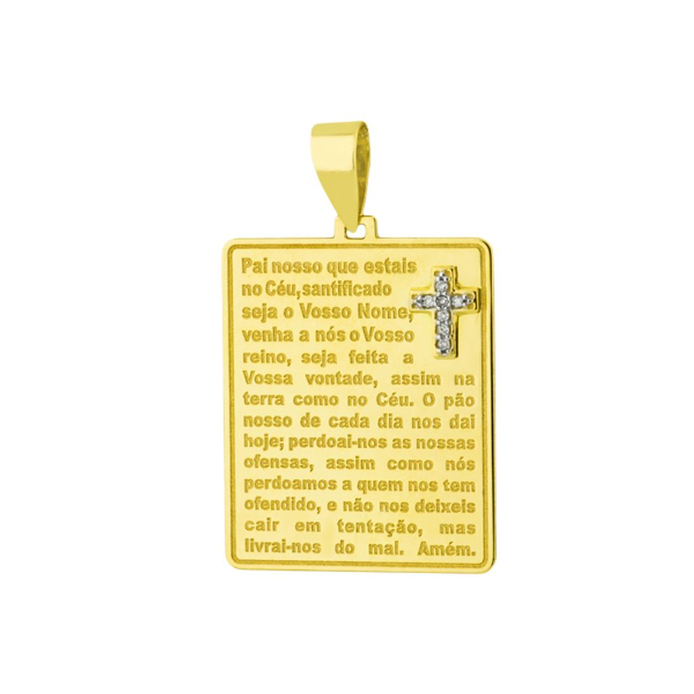 Pingente em Ouro 18k Placa com Cruz e Oração do Pai Nosso - joiasgold f02a315b14
