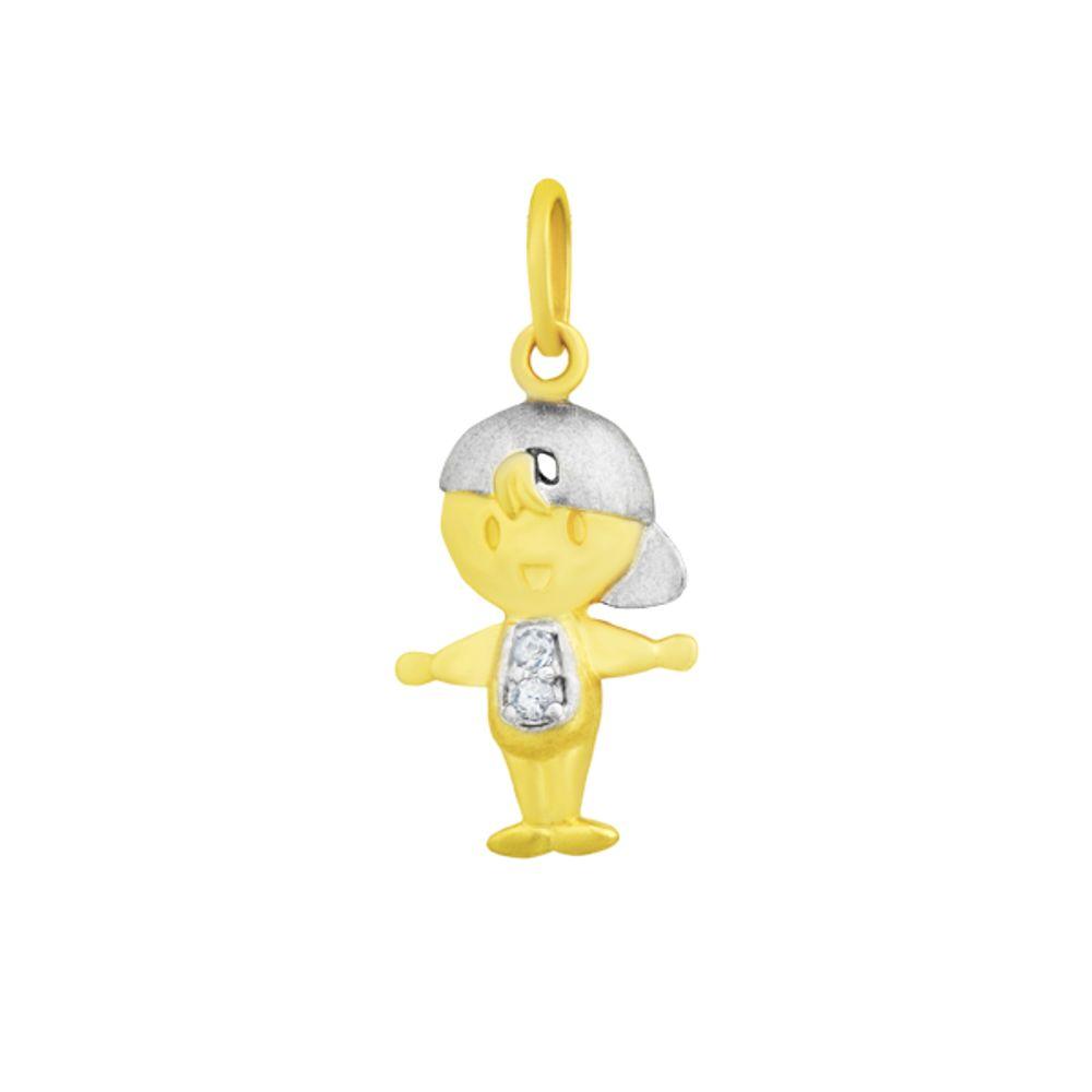 e7cb1fdd827be Pingente em Ouro 18k Menino com Diamante - joiasgold