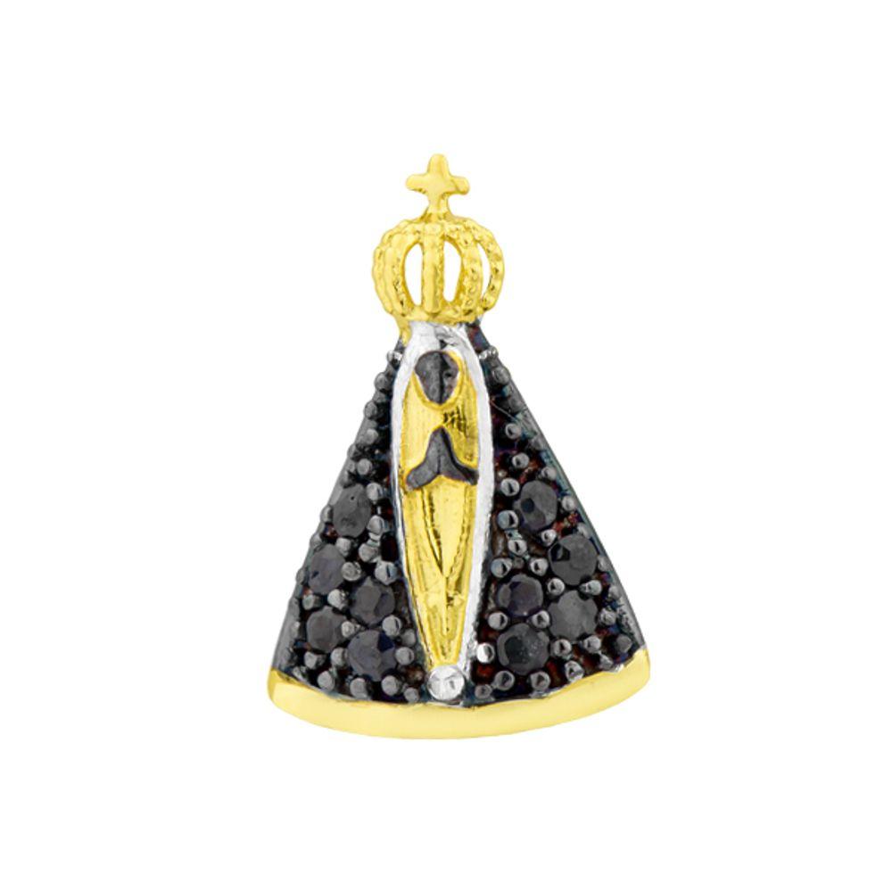 72fdc117af580 Pingente de Ouro 18k Nossa Senhora Aparecida com Safiras - joiasgold