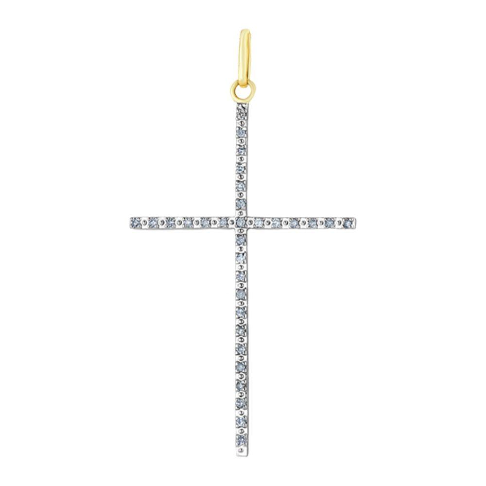 91be37dcc5946 Pingente de Ouro 18k Cruz Palito Grande com Diamantes pi14405 ...