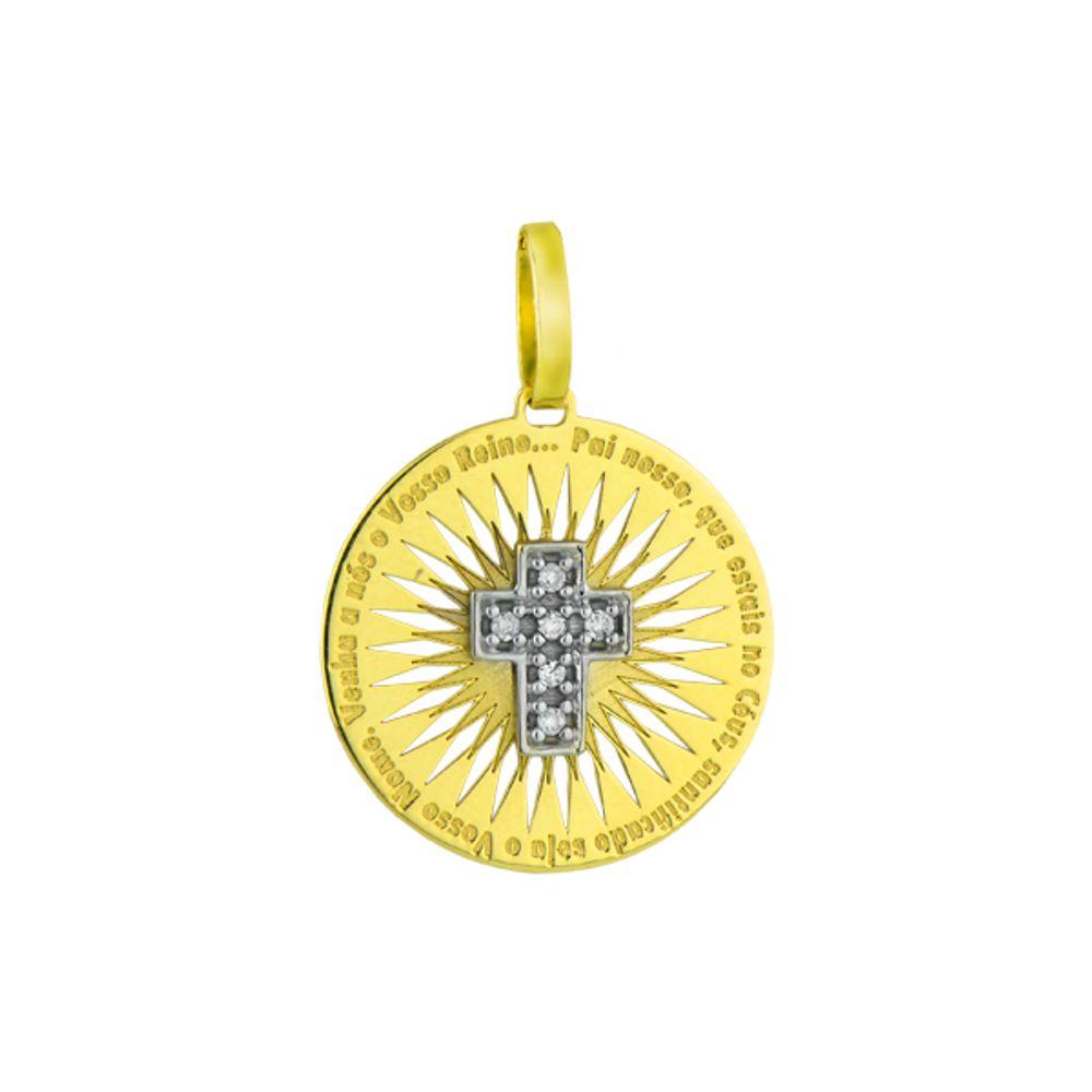 Pingente em Ouro 18k Crucifixo com Oração do Pai Nosso - joiasgold 3b160888ad