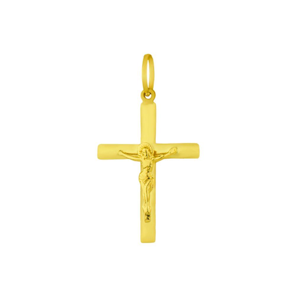 Pingente de Ouro 18k Crucifixo com Jesus Cristo - joiasgold 6ad58e1a18
