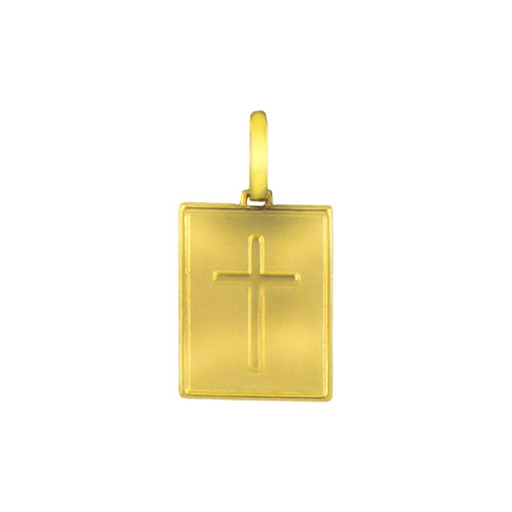 Pingente de Ouro Joia Placa com Crucifixo - joiasgold 973fe108d8