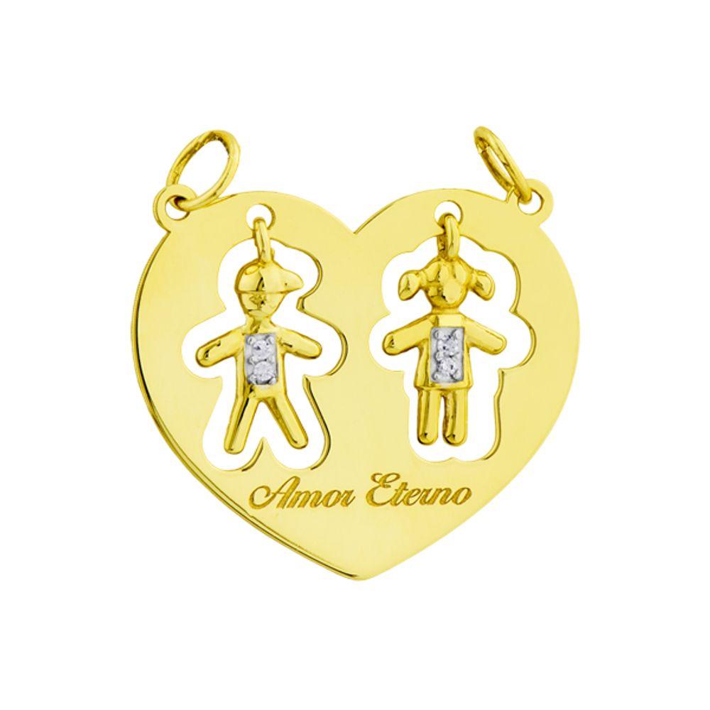 Pingente em Ouro 18k Menino e Menina Dentro do Coração - joiasgold 43c4a33489