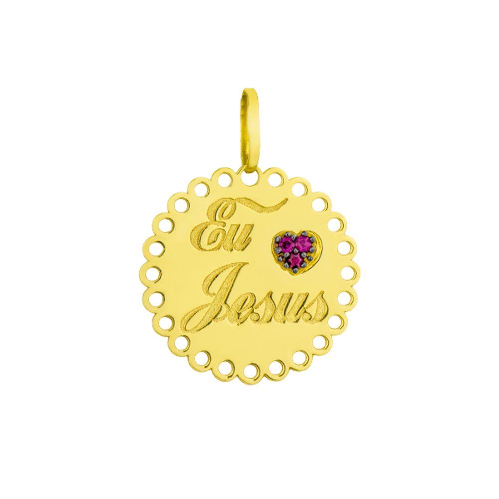 Pingente em Ouro 18k Placa Frase Eu Jesus Coração com Rubi - joiasgold 157d731a0c