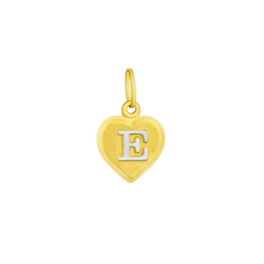 Pingente em Ouro 18k Letra E formato Coração - joiasgold f71a7c88d8