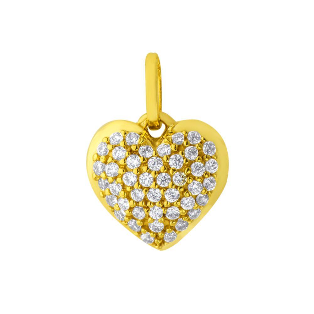 6048b96fbbf0f Pingente em Ouro 18k Ponto de Luz com Zircônia Coração - joiasgold