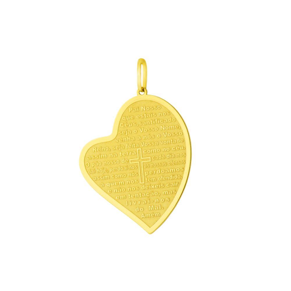 Pingente em Ouro 18k Placa com Oração do Pai Nosso - joiasgold 9053470c03