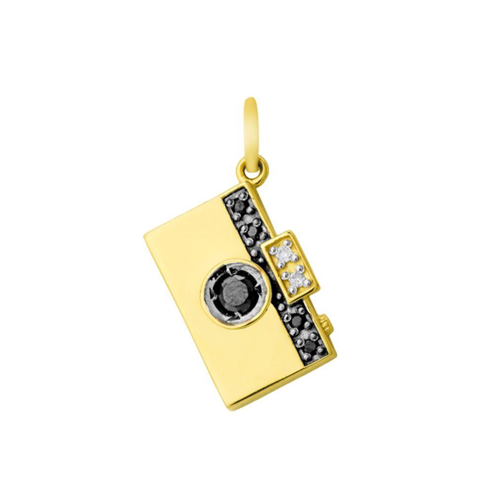 c0203a0a33b1e Pingente em Ouro 18k Câmera Fotográfica com Diamantes e Onix - joiasgold