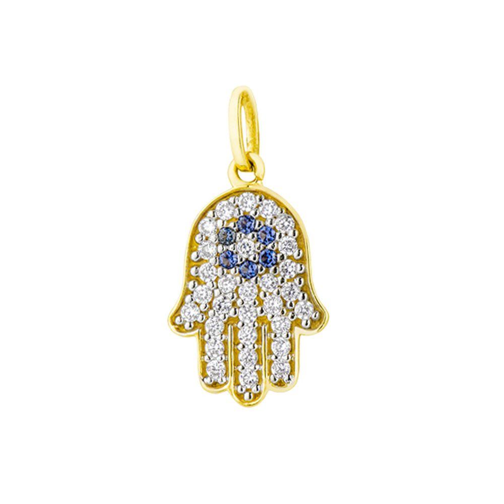 350b51d01a735 Pingente em Ouro 18k Mão de Hamsa ou Fátima com Zircônias - joiasgold