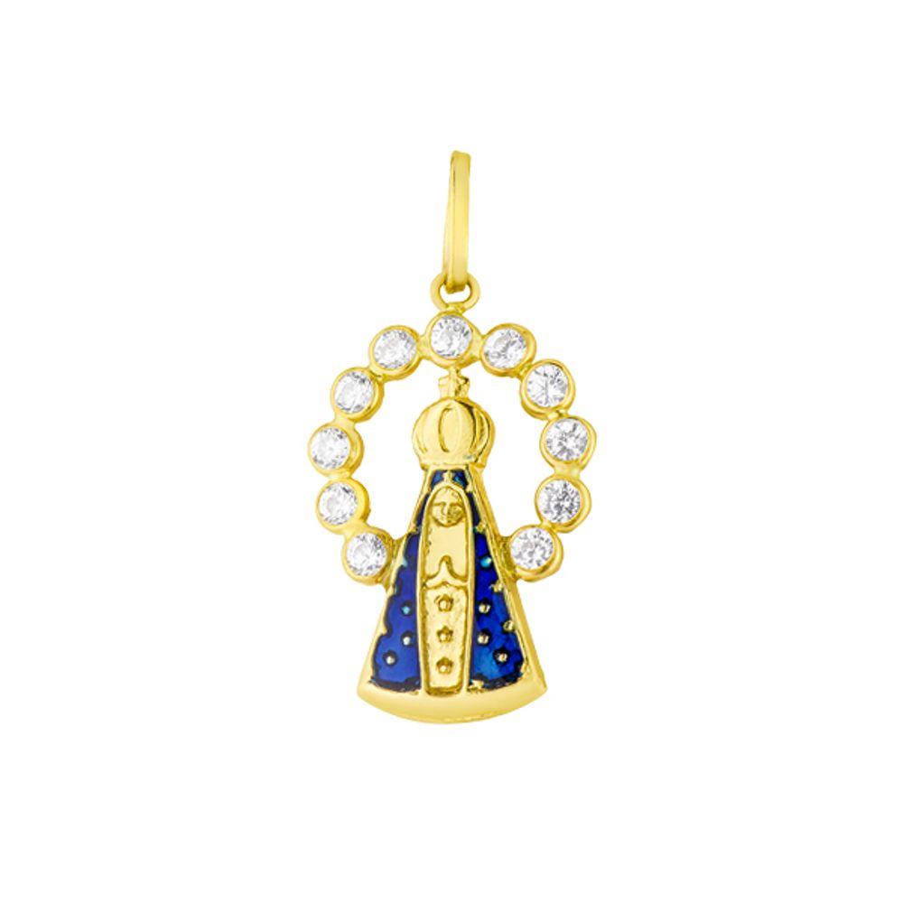 965a91be281 Pingente de Ouro 18k Nossa Senhora Aparecida com Zircônia - joiasgold