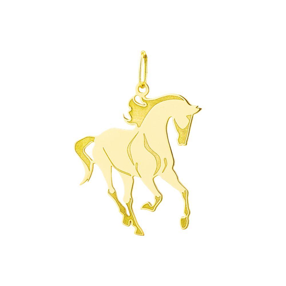 Pingente em Ouro 18k Animal Cavalo Estilizado Grande - joiasgold d1a4ce7a33