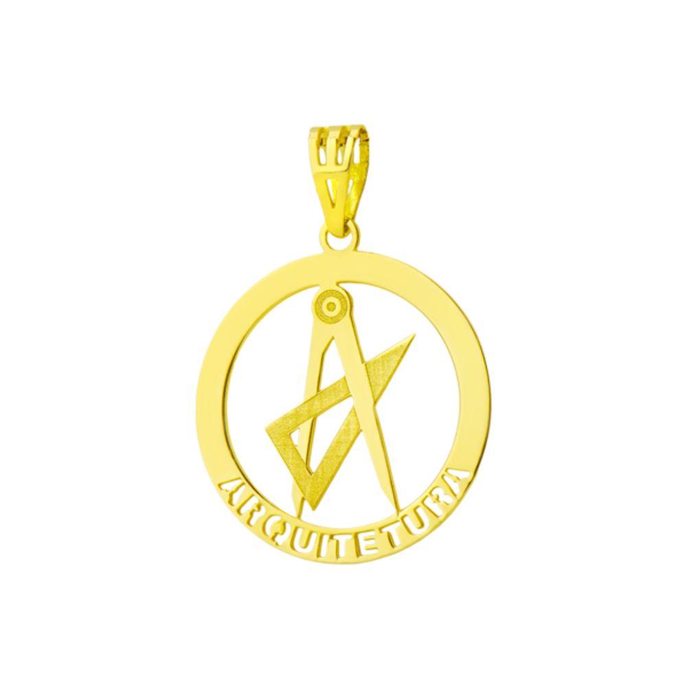 Pingente em Ouro 18k de Formatura com Símbolo de Arquitetura - joiasgold c0b6924ae6