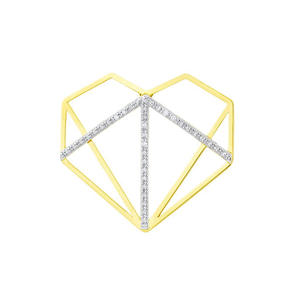 Pingente em Ouro 18k Modelo Diamante Vazado com Diamantes - joiasgold 848438f550