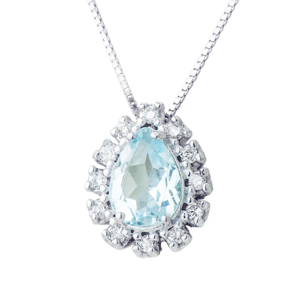 3140894f833a6 Pingente em Ouro Branco 18k Topázio Azul com Diamantes - joiasgold