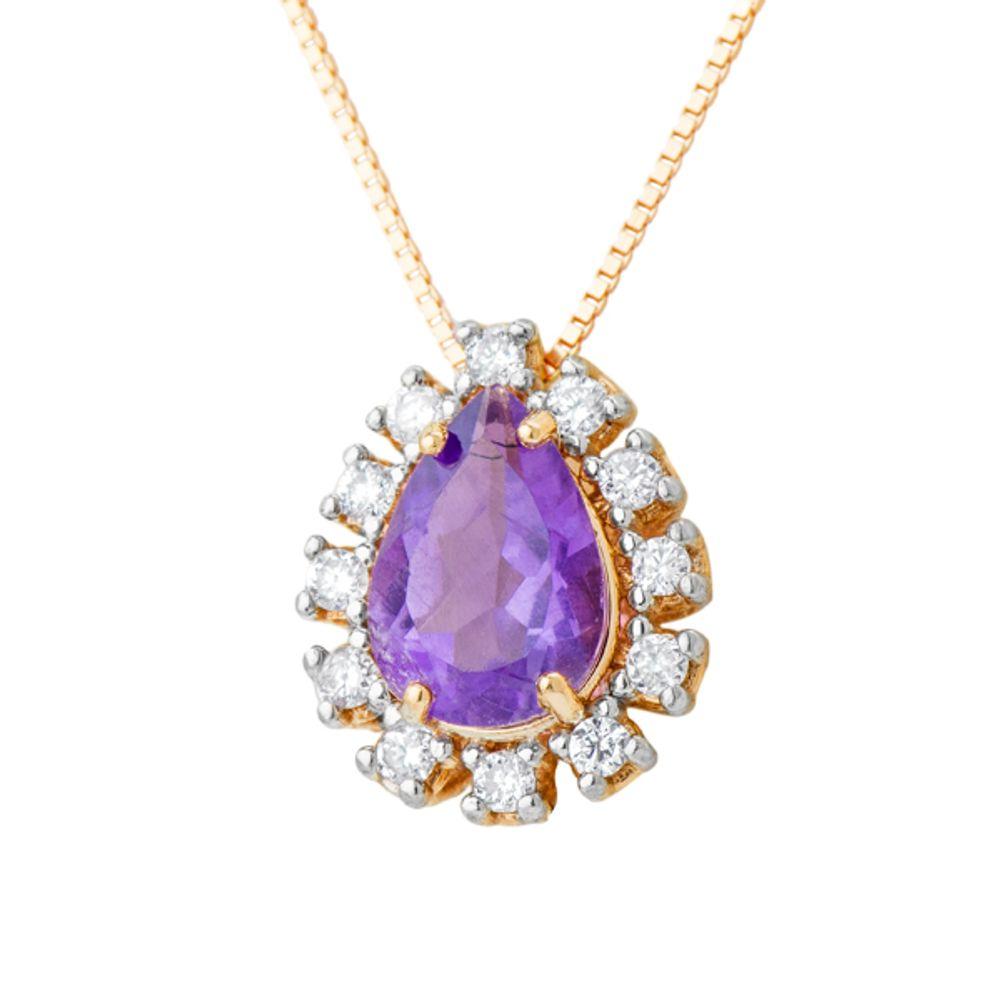 83d839bec81e7 Pingente em Ouro Rosê 18k Ametista com Diamantes - joiasgold