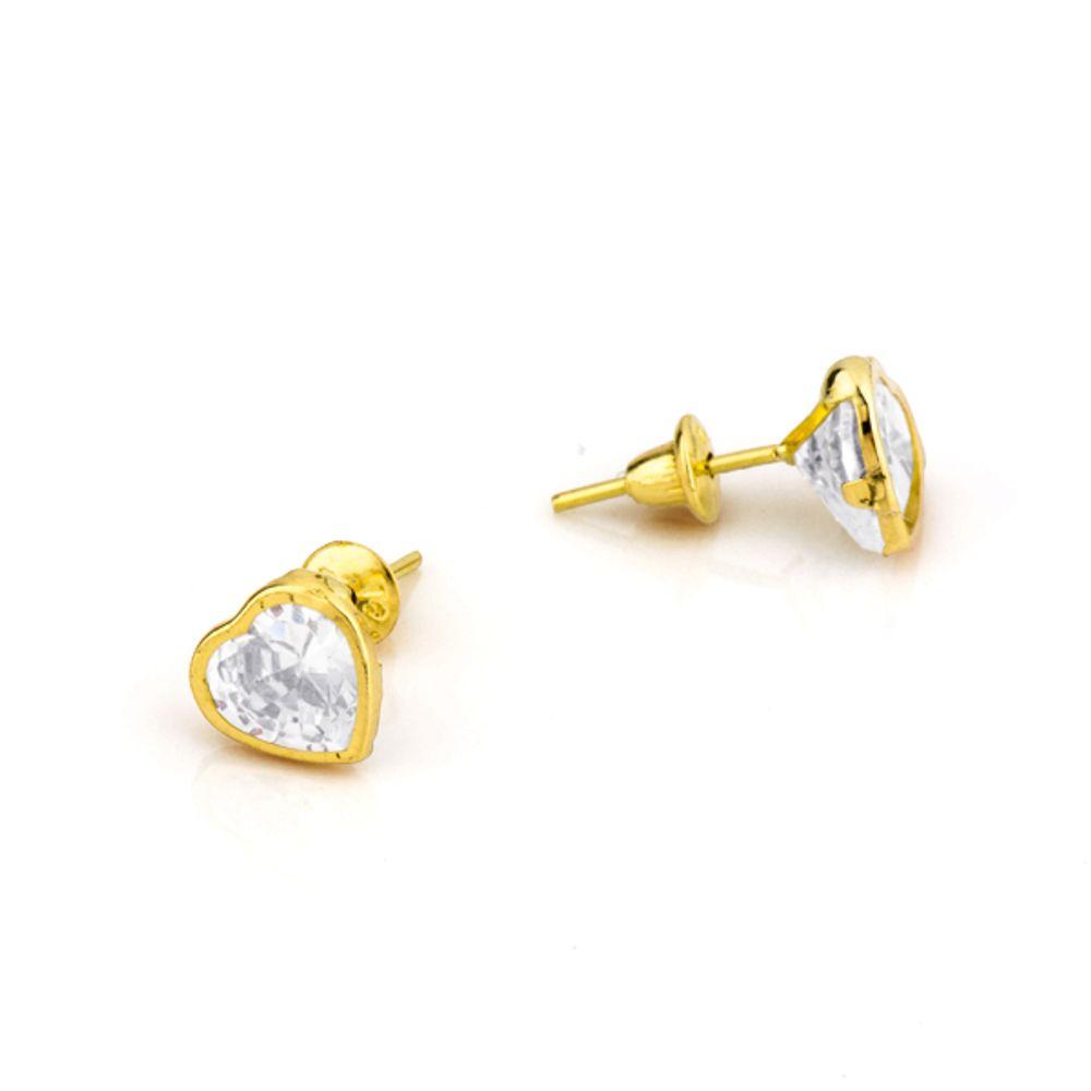 Brinco em Ouro 18k Coração 6,0mm Zircônia br16585 - joiasgold 49b93d2709