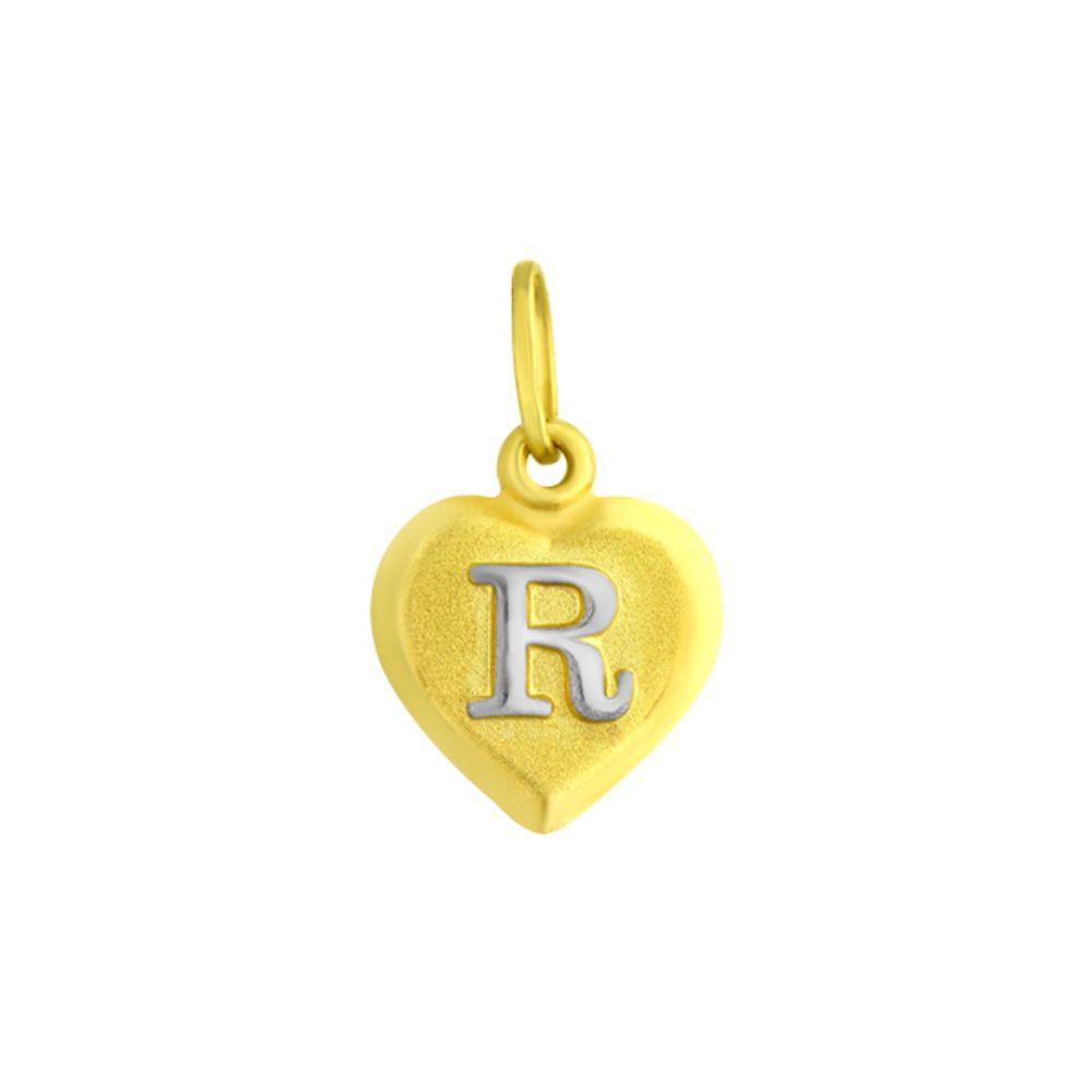 Pingente em Ouro 18k Letra R formato Coração - joiasgold f53bc33455