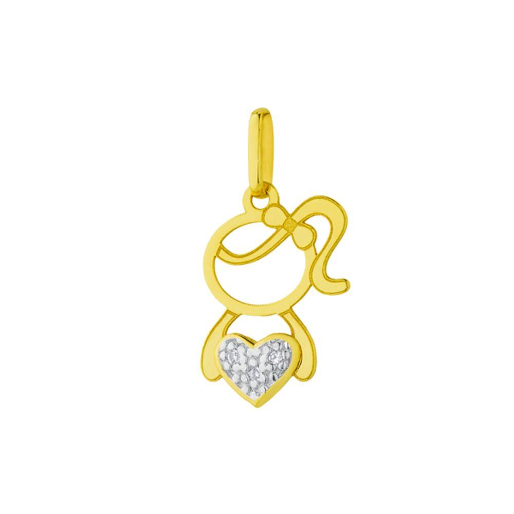 9297008afd7f5 Pingente em Ouro 18k Menina Vazada com Diamantes no Coração - joiasgold