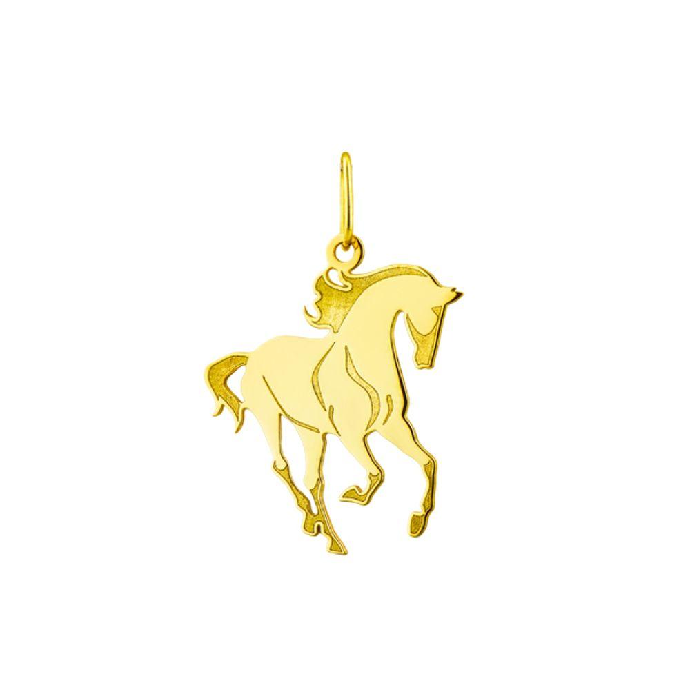 Pingente em Ouro 18k Animal Cavalo Estilizado Médio - joiasgold b4f821f738