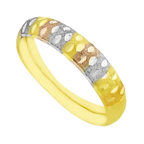 Ordenar Armario Konmari ~ Anel em Ouro 18k Aparador Tr u00eas Tons com Frisos joiasgold