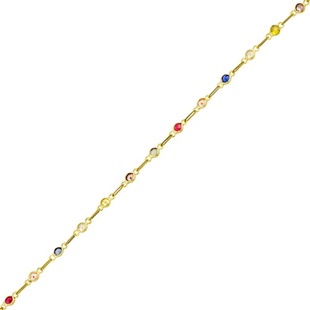 3bd1f531ca9 Pulseira em Ouro 18k Malha Cartier com Zircônia Infantil - joiasgold