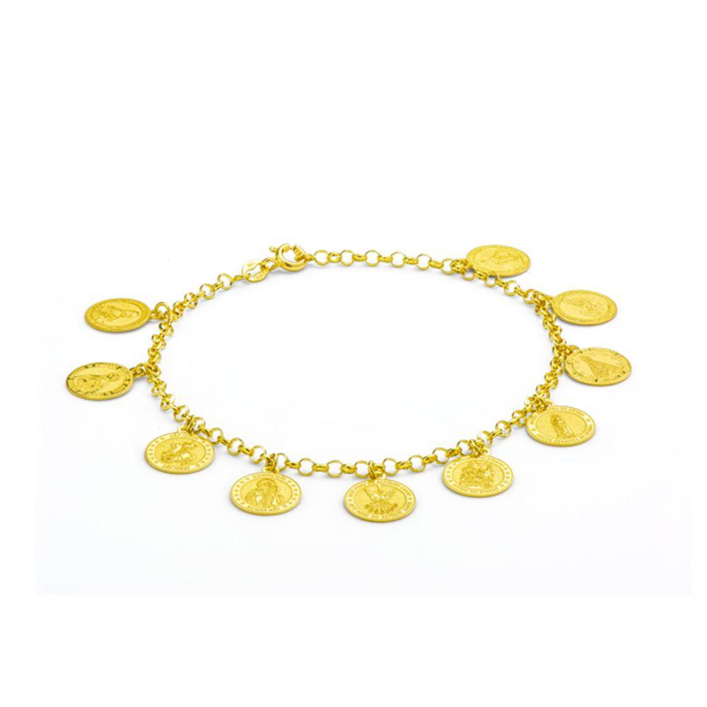Pulseira em Ouro 18k com Berloques de Santos - joiasgold ade5bd617f