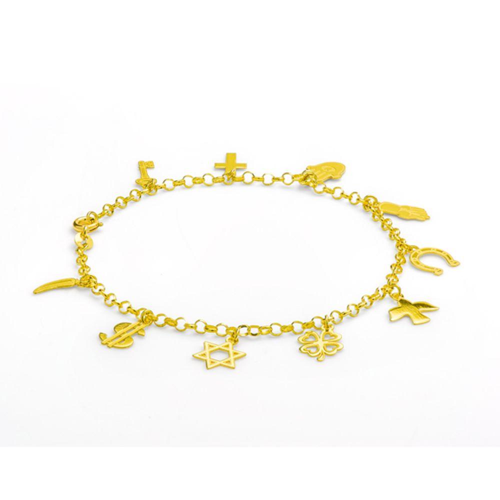 04cc3079402 Pulseira em Ouro 18k com Berloques da Sorte Proteção - joiasgold