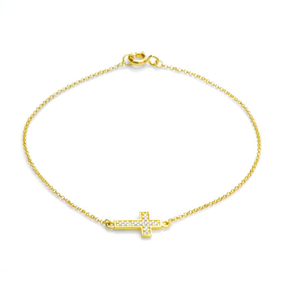b12067b684f3a Pulseira em Ouro 18k Cruz com Zircônias Branca - joiasgold