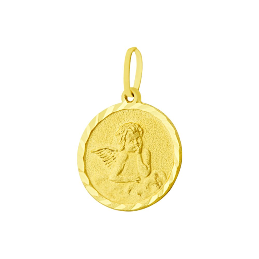 Pingente em Ouro 18k Medalha Anjo da Guarda - joiasgold 8eac91f204