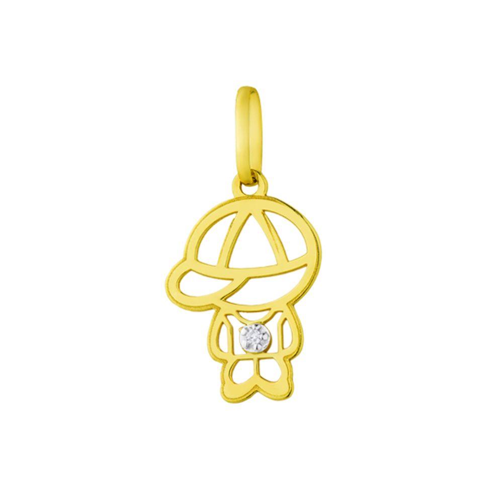 Pingente em Ouro 18k Menino Vazado com Diamante - joiasgold c3a3c4c6ee