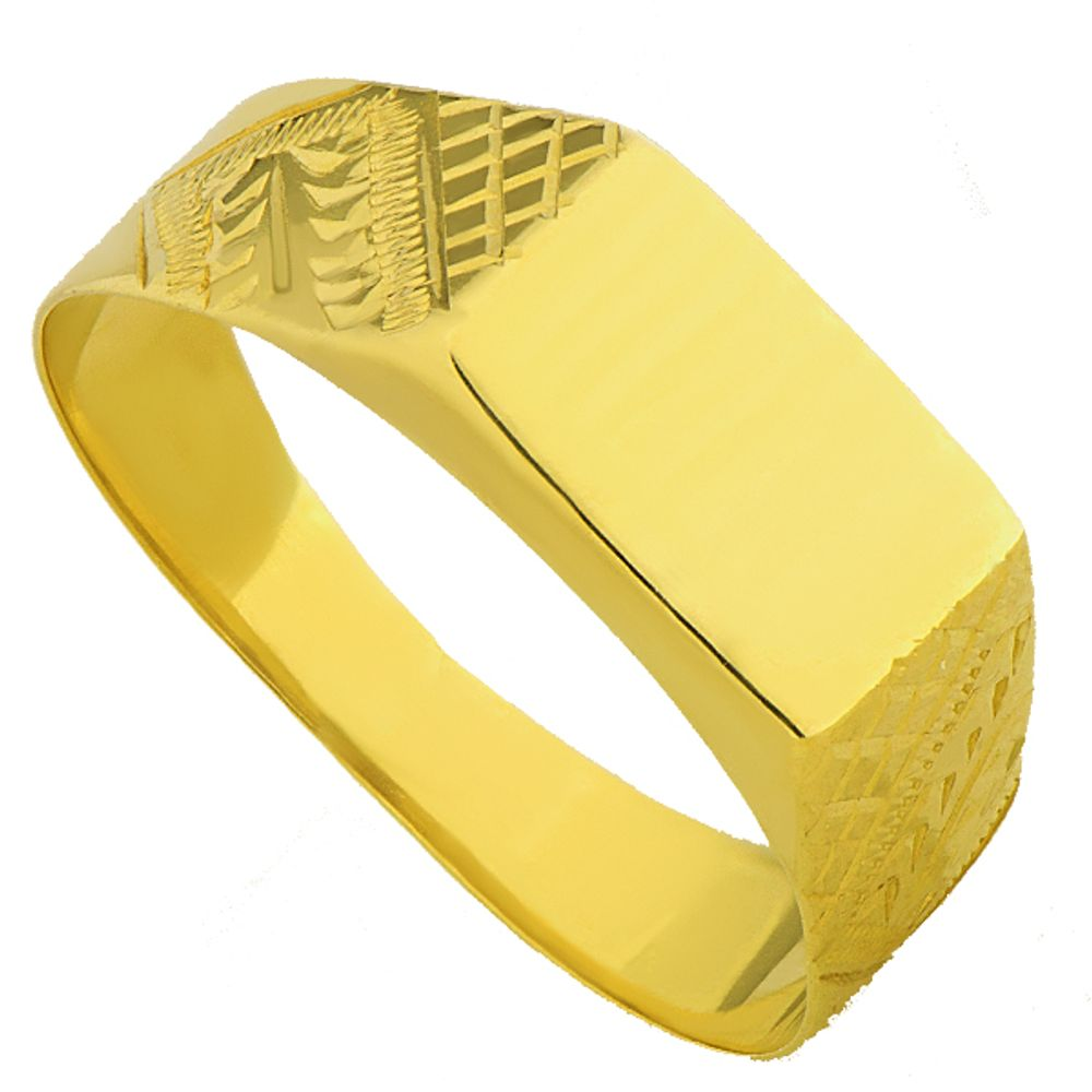 1010b797d9c Anel em Ouro 18k Chapa Retangular - joiasgold
